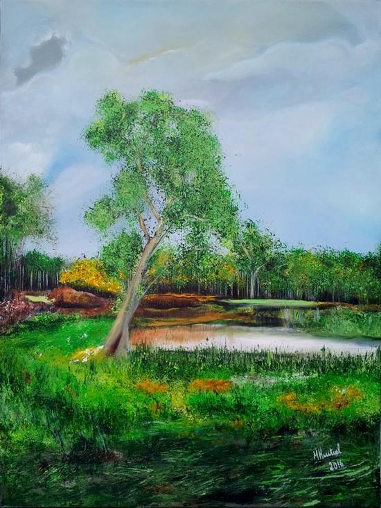 Les fosses. Ciron, Indre, 80 x 60 cm, acrylique