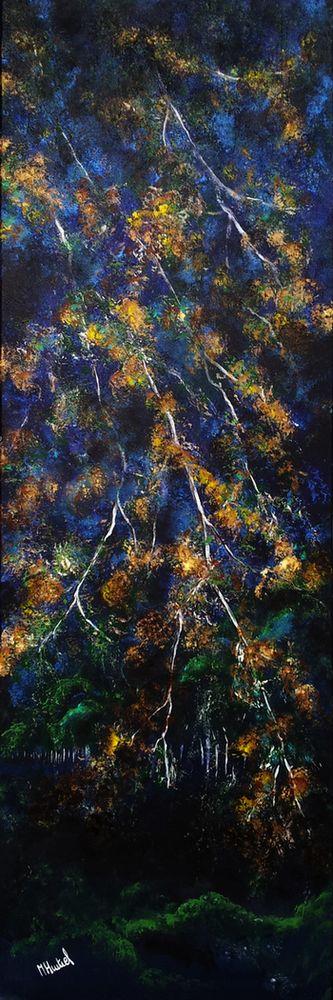 Nuit de là - acrylique, 120x40 cm - HURTREL