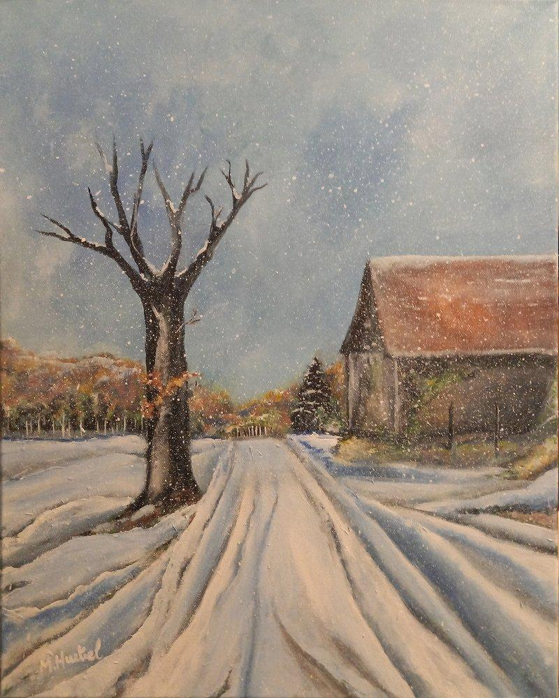 Chemin de la Pilonnerie sous la neige, Scoury